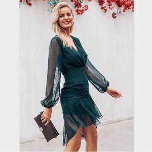 Polka dot ruffled Ruched V-Neck Sheath Green Dress
